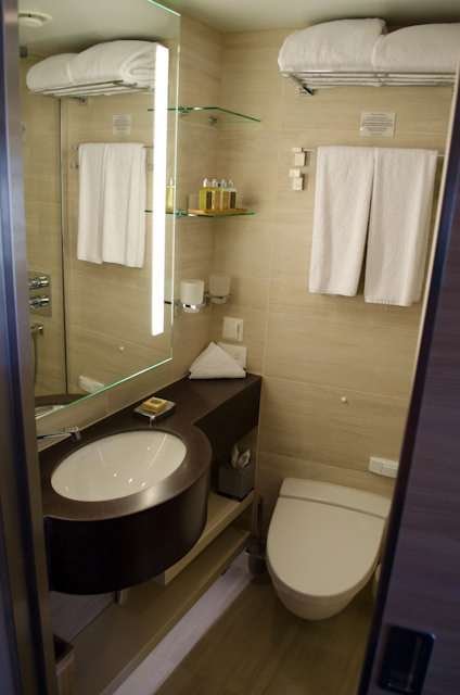 My stateroom bathroom aboard Viking Forseti, with dark-brown sink and counter area. Also note the different wall texture, the different shelving arrangement, and the placement of the flush button for the toilet compared to Viking Heimdal, below. Photo © 2014 Aaron Saunders