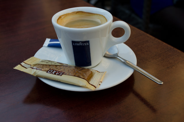 Nothing like stopping for a good cup of espresso in a local cafe! Photo © 2014 Aaron Saunders
