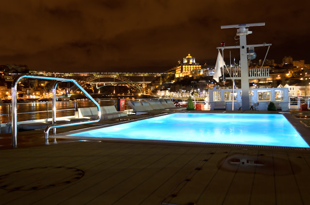 Both Viking Hemming and Viking Torgil feature a pool located on the Sun Deck. Porto is in the background. Photo © 2014 Aaron Saunders