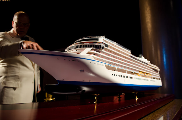 Next year, Viking will take delivery of their first oceangoing cruise ship: Viking Star. The Builder's Model is shown here in Los Angeles last year at the Viking Oceans Launch Event. Photo © 2014 Aaron Saunders