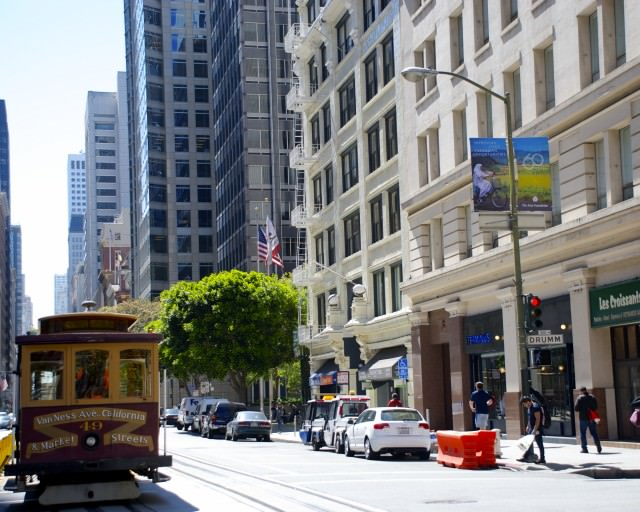 The less-touristy California cable car line is the way to go. © 2014 Gail Jessen