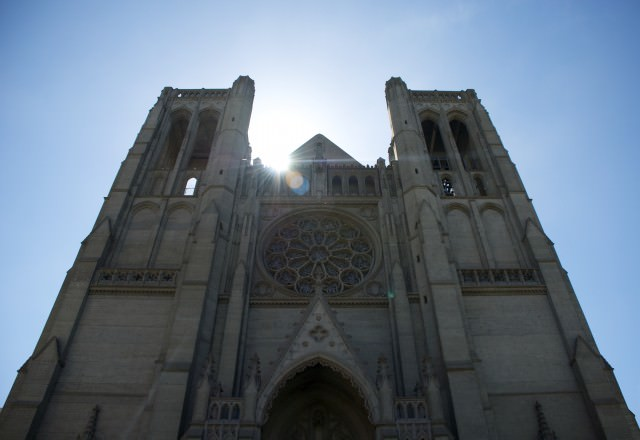 Built in the French Gothic style, Grace Cathedral is perched atop San Francisco's Nob Hill. © 2014 Gail Jessen