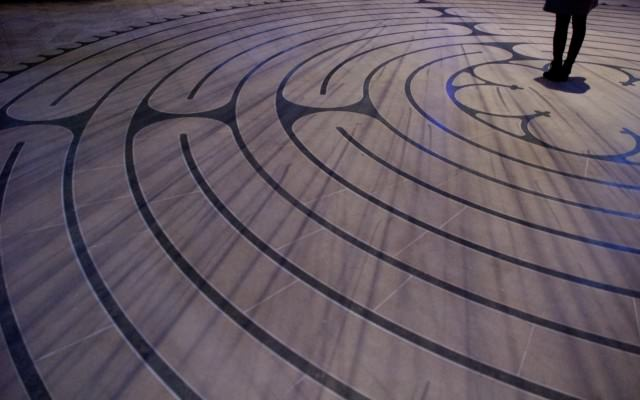 There is an exterior labyrinth available to the public all day every day. The indoor labyrinth is available for meditation when the cathedral is open. © 2014 Gail Jessen