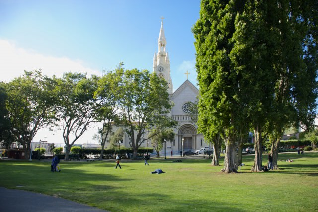 San Francisco has many parks hidden amongst its bustling streets. Washington Square in North Beach is one of the most picturesque. © 2014 Gail Jessen