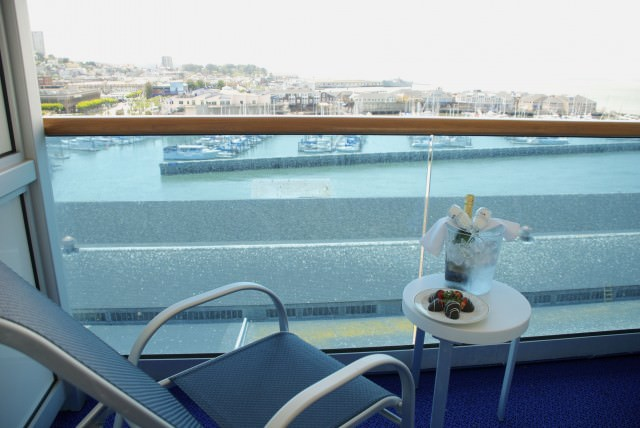 Champagne and strawberries on the balcony...don't mind if we do. Welcome aboard! © 2014 Gail Jessen