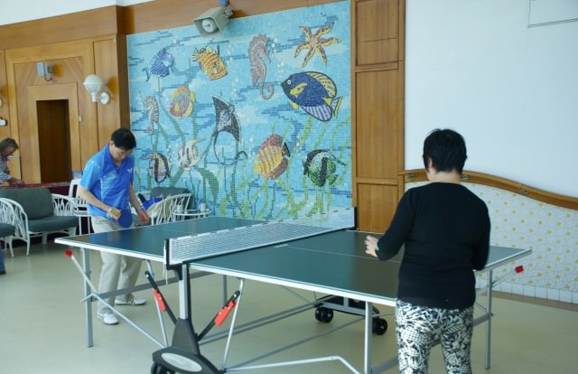 Rather competitive table tennis opportunities found on Deck 15.