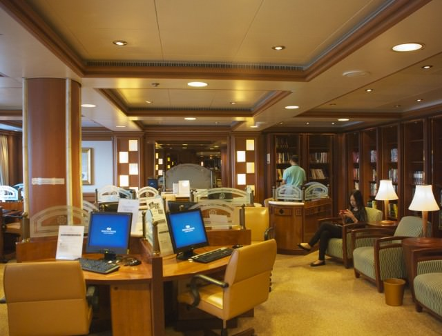 You can bring your own laptop or tablet into the Internet Cafe to pick up the ship's strongest WiFi signal. © 2014 Gail Jessen