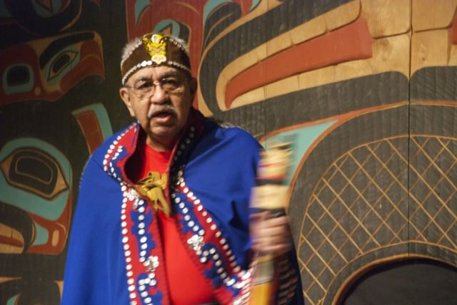 A Tlingit elder welcomes us in his native dialect and introduces the dancers. © 2014 Gail Jessen