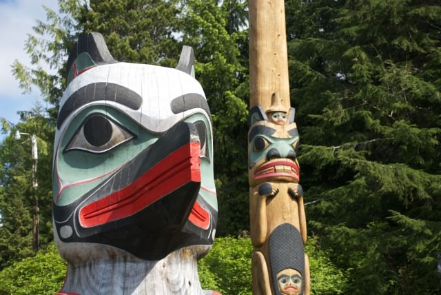 Detail of a totem pole in Saxman Village. © 2014 Gail Jessen