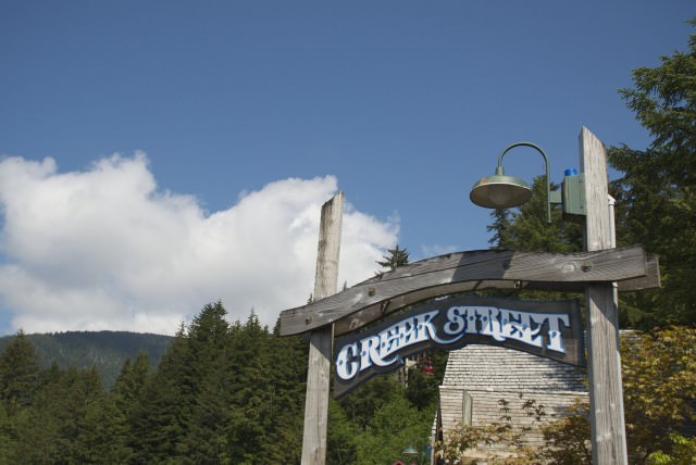 The infamous Creek Street, built on stilts over Ketchikan Creek where salmon make their annual run.