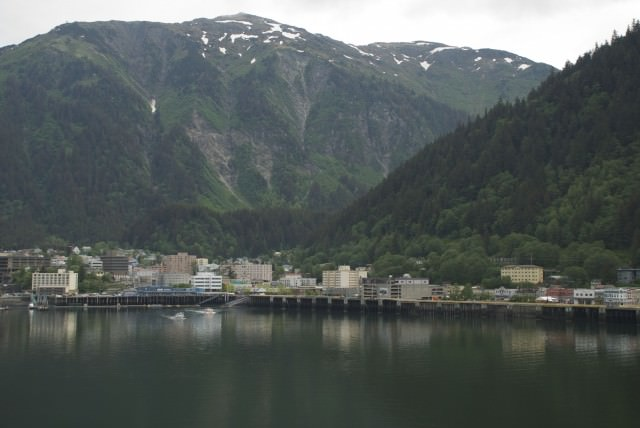 Juneau, Alaska's capital city, as seen from our Star Princess balcony this morning. © 2014 Gail Jessen