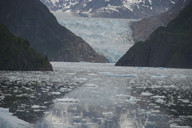 Doing my best to zoom in on the glacier and convey the electric turquoise color of its face. © 2014 Gail Jessen