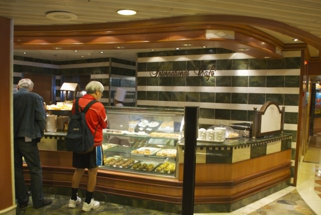 Don't let its nearly-hidden, tiny corner of the giant Piazza fool you...The International Cafe is a must-eat destination on the Star Princess. © 2014 Gail Jessen