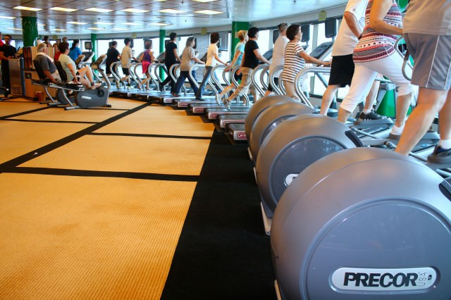 Star Princess passengers are staying fit on their third full day at sea. © 2014 Heather Bush