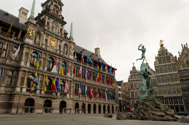 Antwerp's gorgeous squares are stunning in the early-morning hours. Photo © 2014 Aaron Saunders