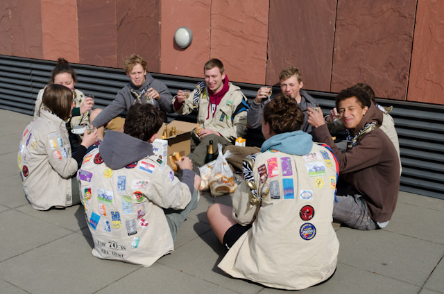 These Scouts are out and about, enjoying breakfast in the warm sunshine. Note the open bottles of champagne; I knew I liked this country! Thanks to all of them for letting me post their photo here. Photo © 2014 Aaron Saunders