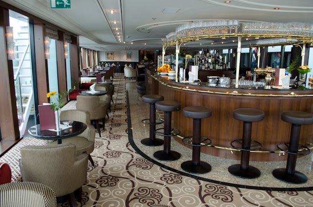 The gorgeous Panorama Lounge aboard Tauck's ms Inspire. Photo © 2014 Aaron Saunders