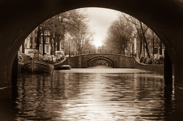 The canals of Amsterdam, as seen from our Tauck canal tour this morning. Photo © 2014 Aaron Saunders