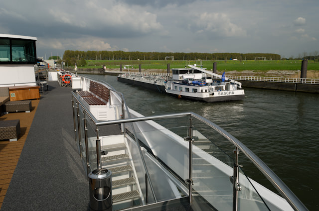 Departing the lock and making our way down the Rhine on a gorgeous spring day in the Netherlands! Photo © 2014 Aaron Saunders