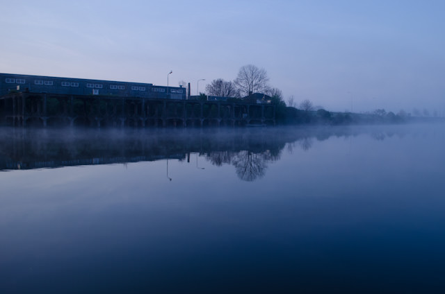 The fog sweeps in along the river as Tauck's ms Inspire comes alongside in Veere, Netherlands. Photo © 2014 Aaron Saunders