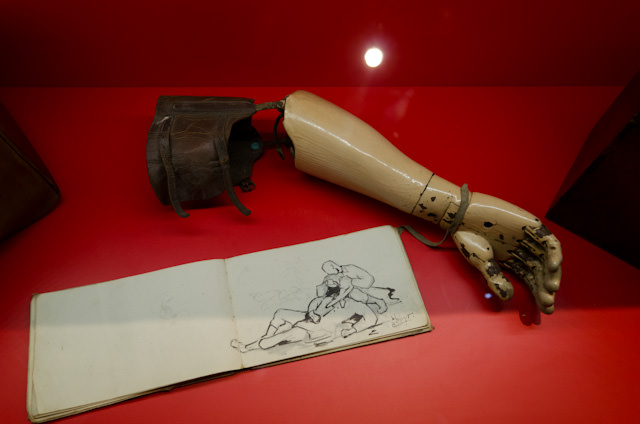 """A prosthetic arm belonging to a World War I soldier. Many returned from """"The War to End All Wars"""" with life-altering injuries. Photo © 2014 Aaron Saunders"""