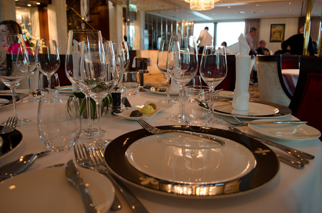 Elegant dining in the Compass Rose Dining Room this evening. Photo © 2014 Aaron Saunders