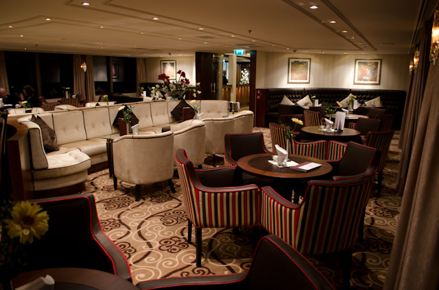 The Panorama Lounge aboard the beautiful ms Inspire. Photo © 2014 Aaron Saunders