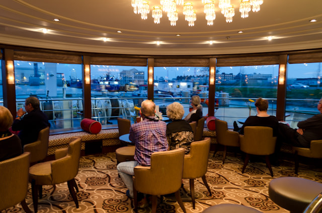 Guests watch our departure from Middelburg in the Panorama Lounge. Photo © 2014 Aaron Saunders