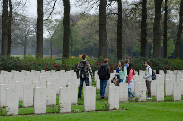 Schoolchildren visit the Airborne Cemetery in Arnhem. It's nice to see new generations learning about events that took place 70 years ago this year. Photo © 2014 Aaron Saunders