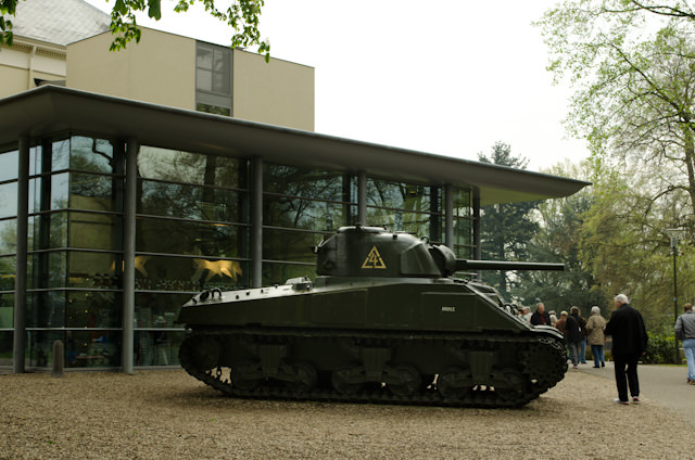 The Airborne Museum in Oosterbeek, Netherlands is located in a former hotel. The tank out front is a Canadian one. Photo © 2014 Aaron Saunders