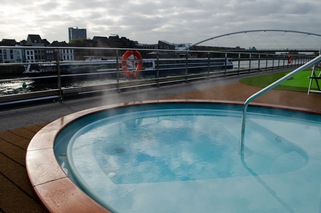 Steam rises off the ms Inspire's inviting hot tub this morning in Maastricht. Photo © 2014 Aaron Saunders