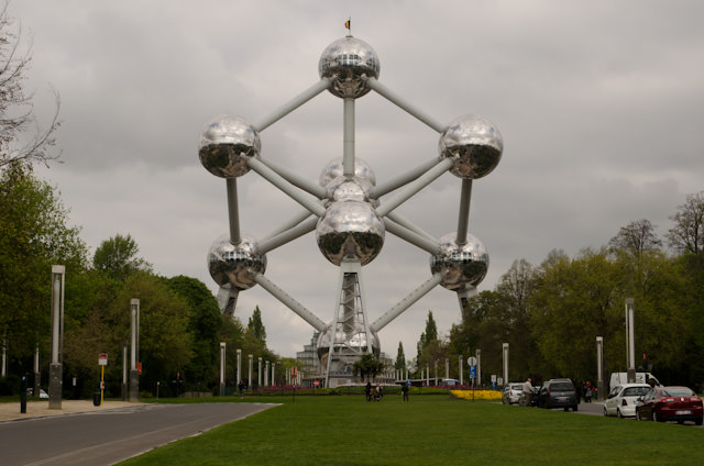 Stopping en-route to view the Atomium, constructed for the 1958 Brussels World's Fair. Photo © 2014 Aaron Saunders