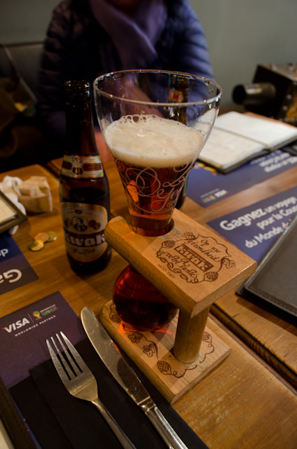 Enjoying a fantastic Belgian beer at the better of our two lunchtime establishments. Photo © 2014 Aaron Saunders