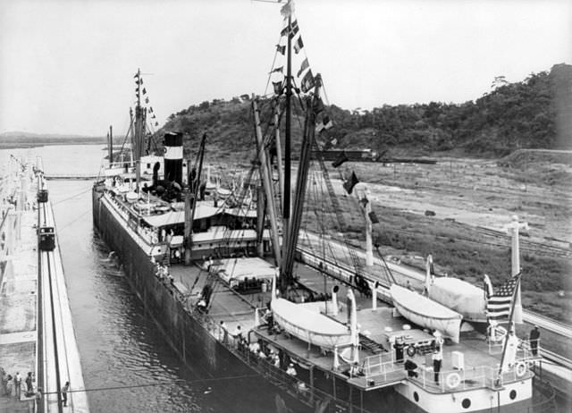 The first ship to transit the Panama Canal was the S.S. Ancon, on 15 August 1914. Photo courtesy of Wikipedia / Creative Commons