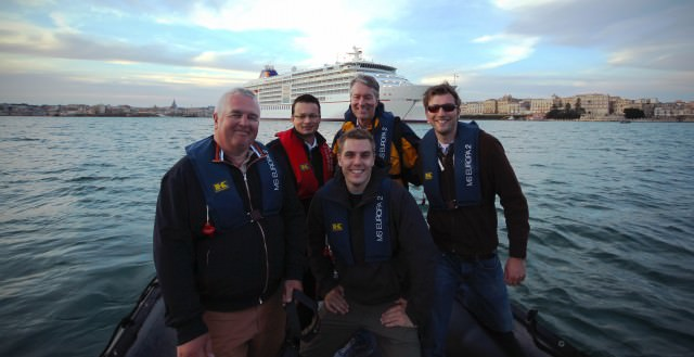 From left: Belgian travel writer Patrick Parez; Europa 2 Hotel Director Frank Nuemann; videographer Chris Stanley, Amber Pacific Studios; Ralph Grizzle, the Avid Cruiser; and Moritz Krause, Corporate Communications Manager, Hapag-Lloyd Cruises. © 2014 Ralph Grizzle