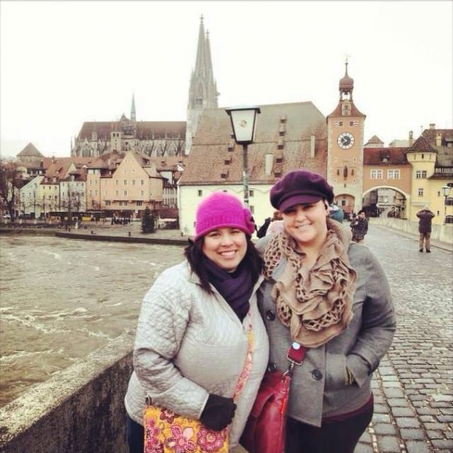Exploring Regensburg, Germany with Kris (left) in 2012