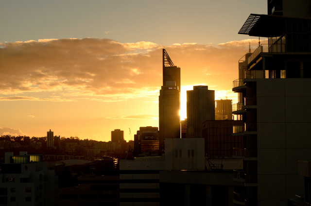 Sunset over Perth, Australia as seen from the Pan Pacific. Photo © 2014 Aaron Saunders