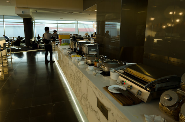 A larger-than-average breakfast buffet is included for guests visiting the Business Lounge in Sydney's T3. Photo © 2014 Aaron Saunders