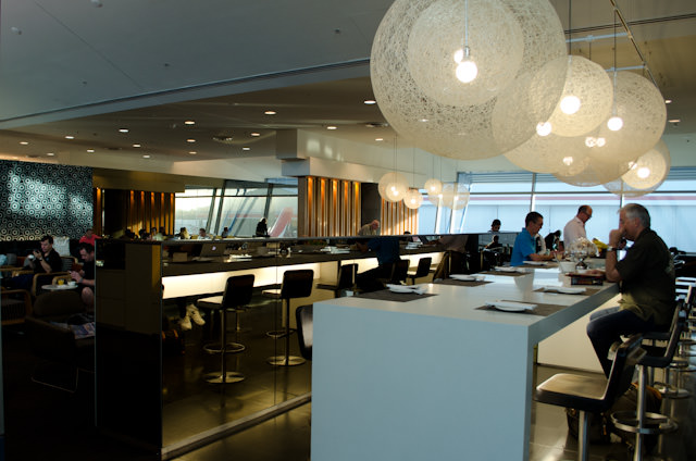 The Qantas Business Lounge at Sydney's Terminal 3. Photo © 2014 Aaron Saunders