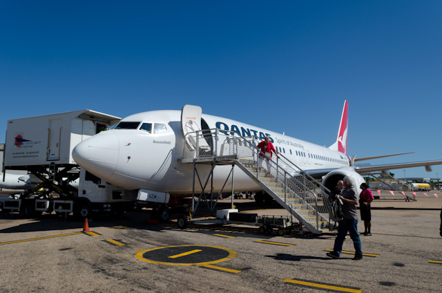 Our replacement aircraft on the tarmac in Broome this afternoon. A damaged cargo door caused a plane change, but Qantas handled it well. Photo © 2014 Aaron Saunders