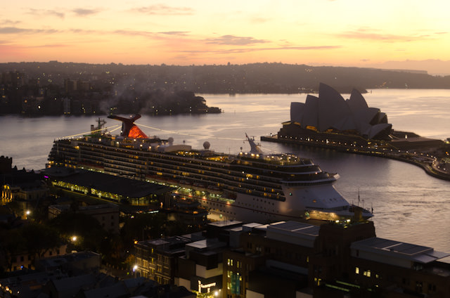 The Shangri-La Sydney boasts views you simply can't tire of. Here, Carnival Cruise Lines' Carnival Spirit comes alongside Sydney's primary cruise terminal. Photo © 2014 Aaron Saunders