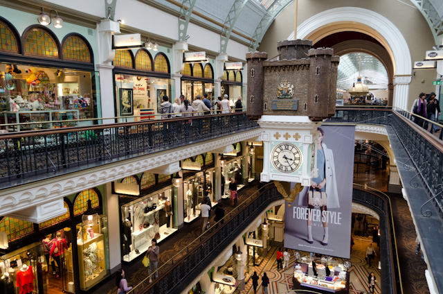 The interior of the Queen Victoria Building, or QVB for short, is classically ornate. Photo © 2014 Aaron Saunders