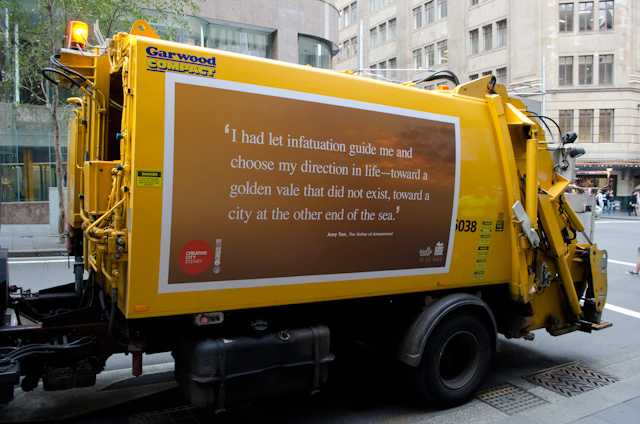 Seen on the walk back to the hotel: probably the only inspirational garbage truck you're likely to ever see. Photo © 2014 Aaron Saunders