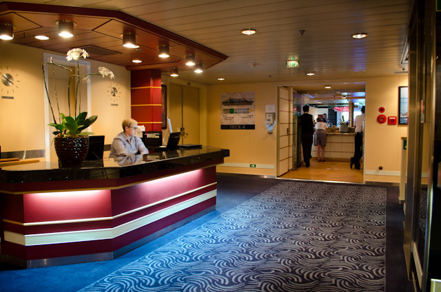 Silver Discoverer's Reception Lobby is located on Deck 4. Photo © 2014 Aaron Saunders