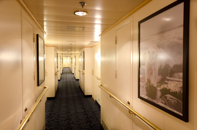 Stateroom corridors have new artwork and carpeting. Photo © 2014 Aaron Saunders