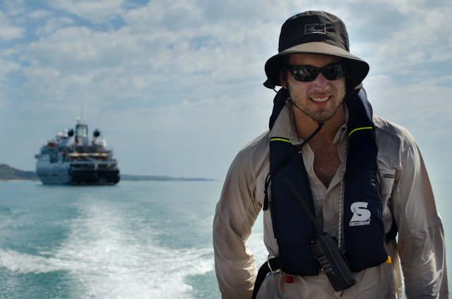 Silver Discoverer Expedition Team member Tim guides us ashore. Like many of the team aboard Silver Discoverer, I had previously sailed with Tim aboard Silver Explorer. Photo © 2014 Aaron Saunders