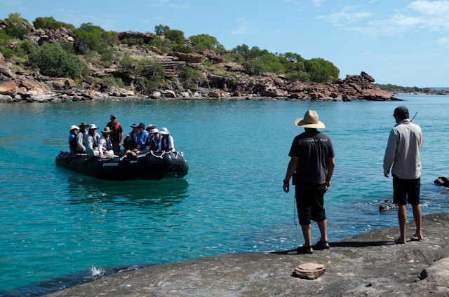 Silver Discoverer Expedition Team members are on-shore to greet guests as they step off the Zodiacs. Photo © 2014 Aaron Saunders