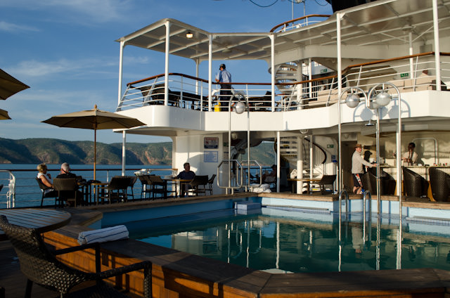 Most guests made a beeline for Deck 5 after returning to take in a cold drink and admire the gorgeous scenery. Photo © 2014 Aaron Saunders