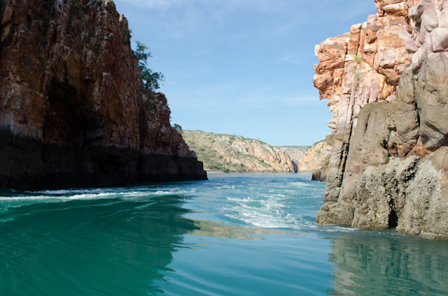 The Horizontal Falls in the morning. At this point, the tide was pulling water away from us. Photo © 2014 Aaron Saunders