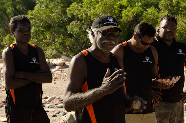 Aboriginal locals greet us at Raft Point and tell us about their heritage before we set out. Photo © 2014 Aaron Saunders